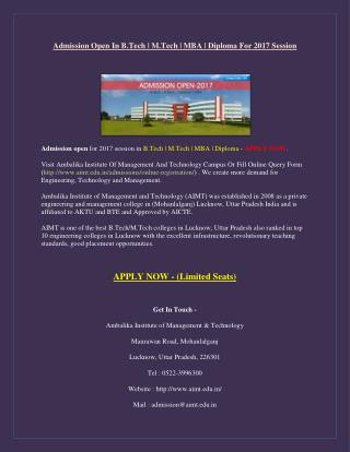 Admission Open In B.Tech | M.Tech | MBA | Diploma For 2017 Session – Lucknow, UP