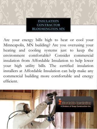 Attic Insulation contractor Bloomington mn
