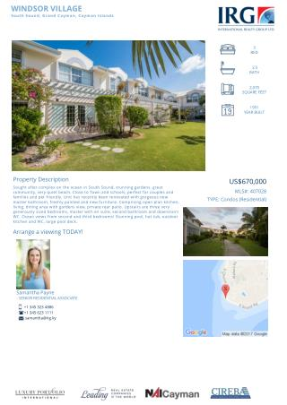 WINDSOR VILLAGE - Cayman condos for sale | MLS#: 407028