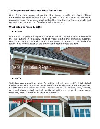 The Importance of Soffit and Fascia Installation