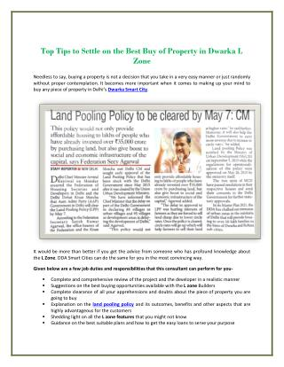 Top Tips to Settle on the Best Buy of Property in Dwarka L Zone