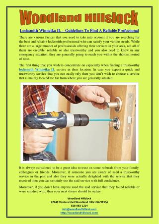Locksmith Winnetka IL – Guidelines To Find A Reliable Professional