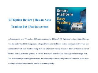 CTOption Review | Has an Auto Trading Bot | Panda systems