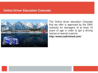 Online Driver Education Colorado