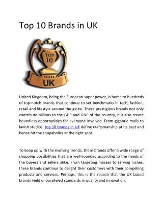 Top 10 Brands in UK