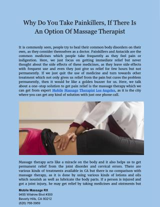Get relief from painful injury by using Massage Therapy