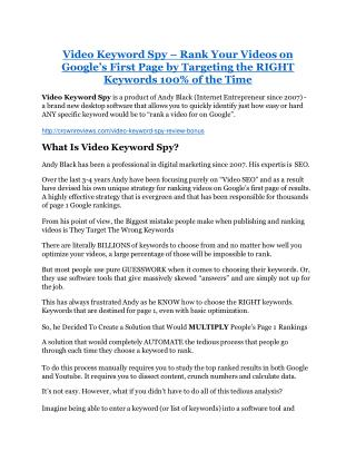 Video Keyword Spy Review & Video Keyword Spy $16,700 bonuses