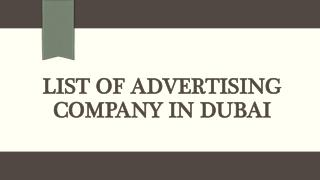 List of advertising company in Dubai