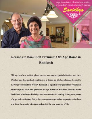 Premium Old Age Home in Rishikesh