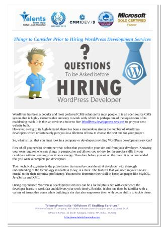 Things to Consider Prior to Hiring WordPress Development Services