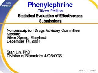 Phenylephrine Citizen Petition Statistical Evaluation of Effectiveness Submissions