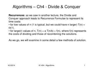 Algorithms   Ch4 - Divide  Conquer