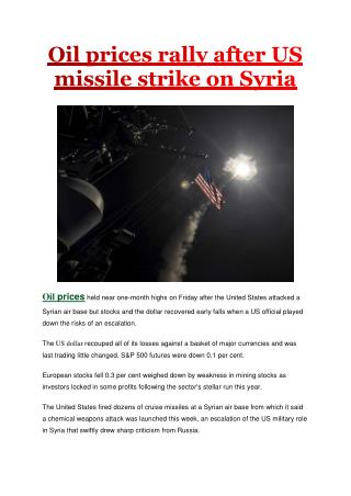 Oil prices rally after US missile strike on Syria