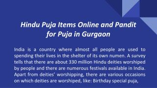 Hindu Puja Items Online and Pandit for Puja in Gurgaon from Vedpuja