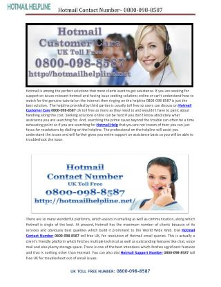 Dial Hotmail Contact Number 0800-098-8587 for Hotmail Technical Queries