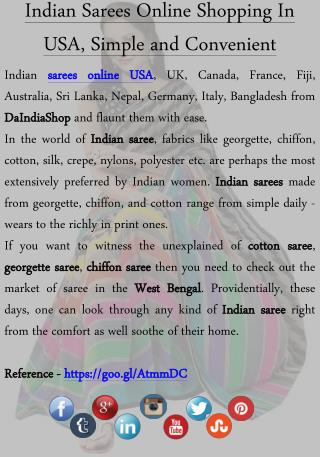 Indian Sarees Online Shopping InUSA, Simple and Convenient