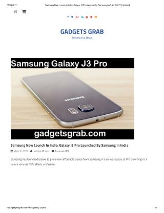 Galaxy J3 Pro launched by Samsung in India