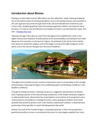 Introduction about Bhutan