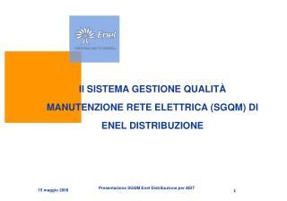 Il SISTEMA GESTIONE QUALIT  MANUTENZIONE RETE ELETTRICA SGQM DI ENEL DISTRIBUZIONE