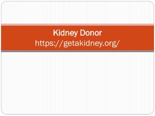 Kidney Transplant Donor