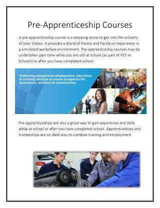 Pre-Apprenticeship Courses