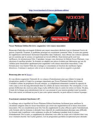 Noxor Platinum Edition Reviews: augmentez votre masse musculaire