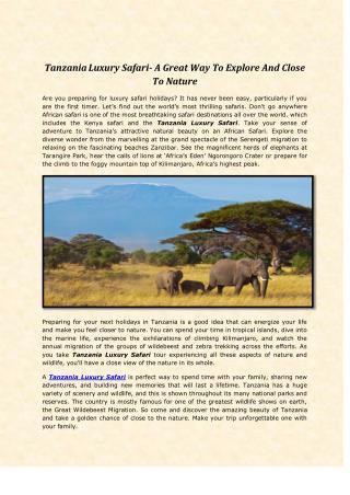 Tanzania Luxury Safari- A Great Way To Explore And Close To Nature