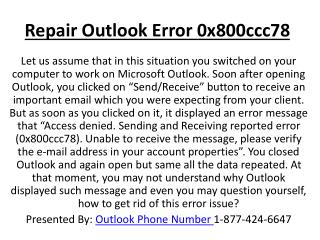 Repair Outlook Error 0x800ccc78