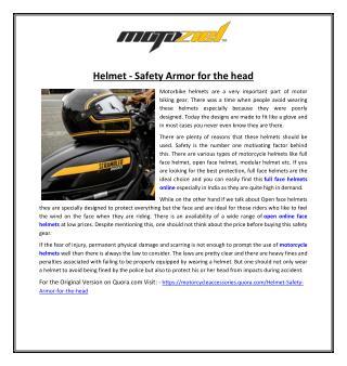 Helmet - Safety Armor for the head