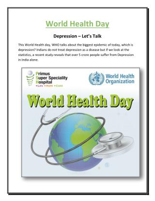 "World Health Day ""Depression – Let's Talk"""