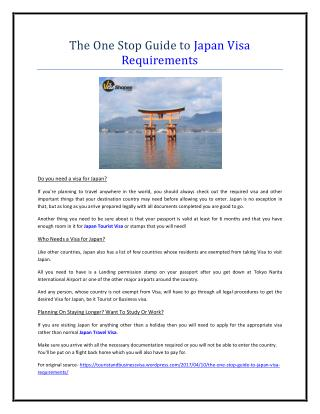 The One Stop Guide to Japan Visa Requirements