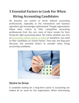 5 Essential Factors to Look For When Hiring Accounting Candidates