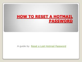 HOW TO RESET A HOTMAIL PASSWORD