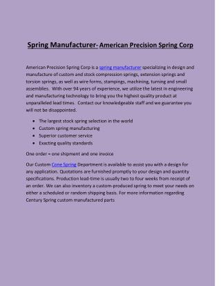 Spring Manufacturer- American Precision Spring Corp
