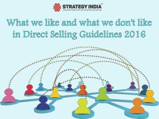 Direct Selling Guidelines - Likes and Dislikes
