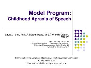 Model Program:  Childhood Apraxia of Speech