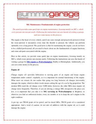 MG Maintenance: Fundamentals of engine protection