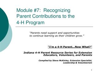 Module 7:  Recognizing  Parent Contributions to the  4-H Program