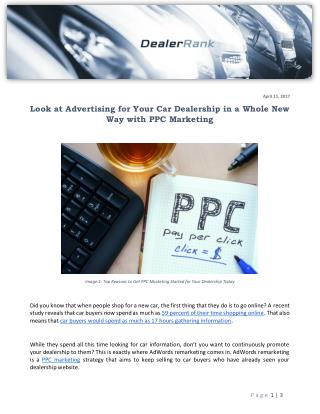 Look at Advertising for Your Car Dealership in a Whole New Way with PPC Marketing