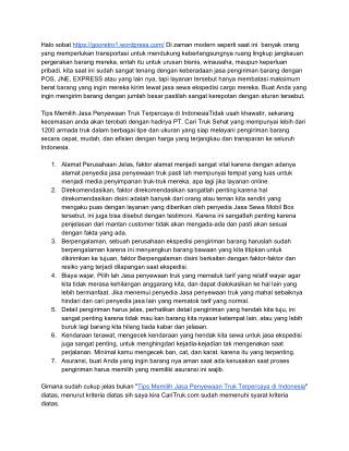 Tips Memilih Jasa Penyewaan Truk Terpercaya di Indonesia
