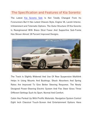 The Specification and Features of Kia Sorento