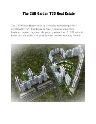 Luxurious 1 BHK Flats in The Cliff Garden Hinjewadi  by Red Coupon