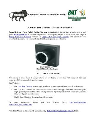 CCD Line Scan Camera – Machine Vision India