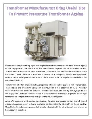 Transformer Manufacturers Bring Useful Tips To Prevent Premature Transformer Ageing