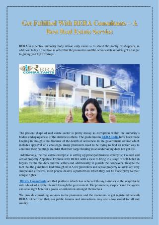 Get Fulfilled With RERA Consultants – A Best Real Estate Service
