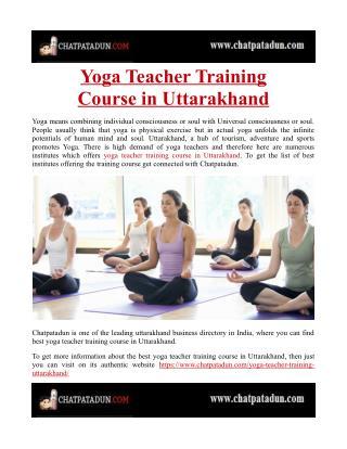 Yoga Teacher Training Course in Uttarakhand