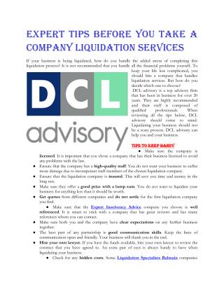 Expert Tips Before You Take a Company Liquidation Services