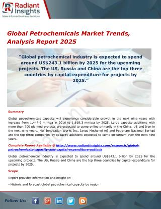 Global Petrochemicals Market Overview, Research Report 2025 by Radiant Insights Inc