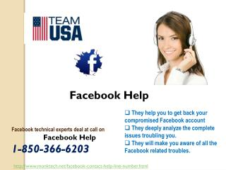 Where should I go for the Facebook Help @1-850-366-6203?