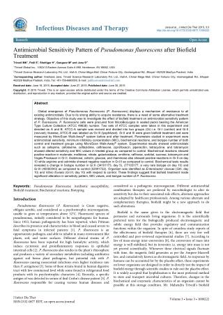 Antimicrobial Sensitivity Pattern of Pseudomonas fluorescens after Biofield Treatment